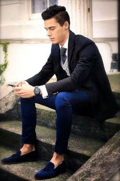 Resultado de imagem para sapato azul masculino look
