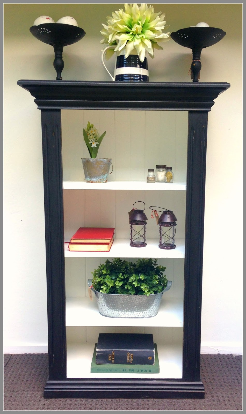 Black And White Bookcase : Vintage workroom black bookcase and homewares