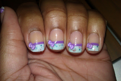 French tip, frenchie, blue, purple, whimsical, fimo, bow, glitter, nail art, man