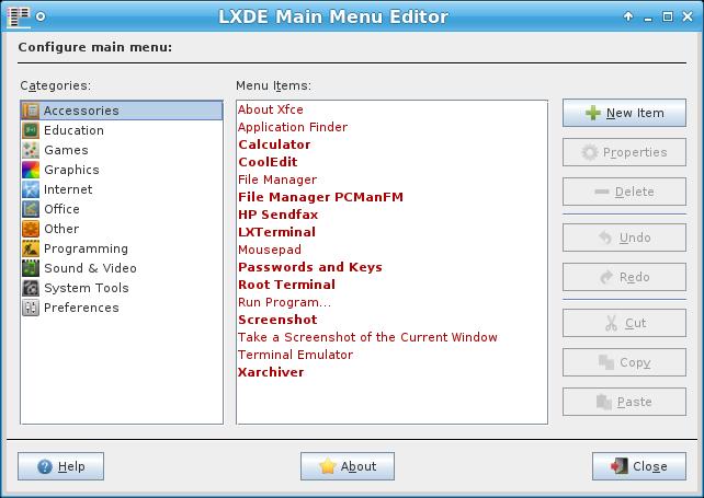lxmed menu editor de xfce lxde grafico