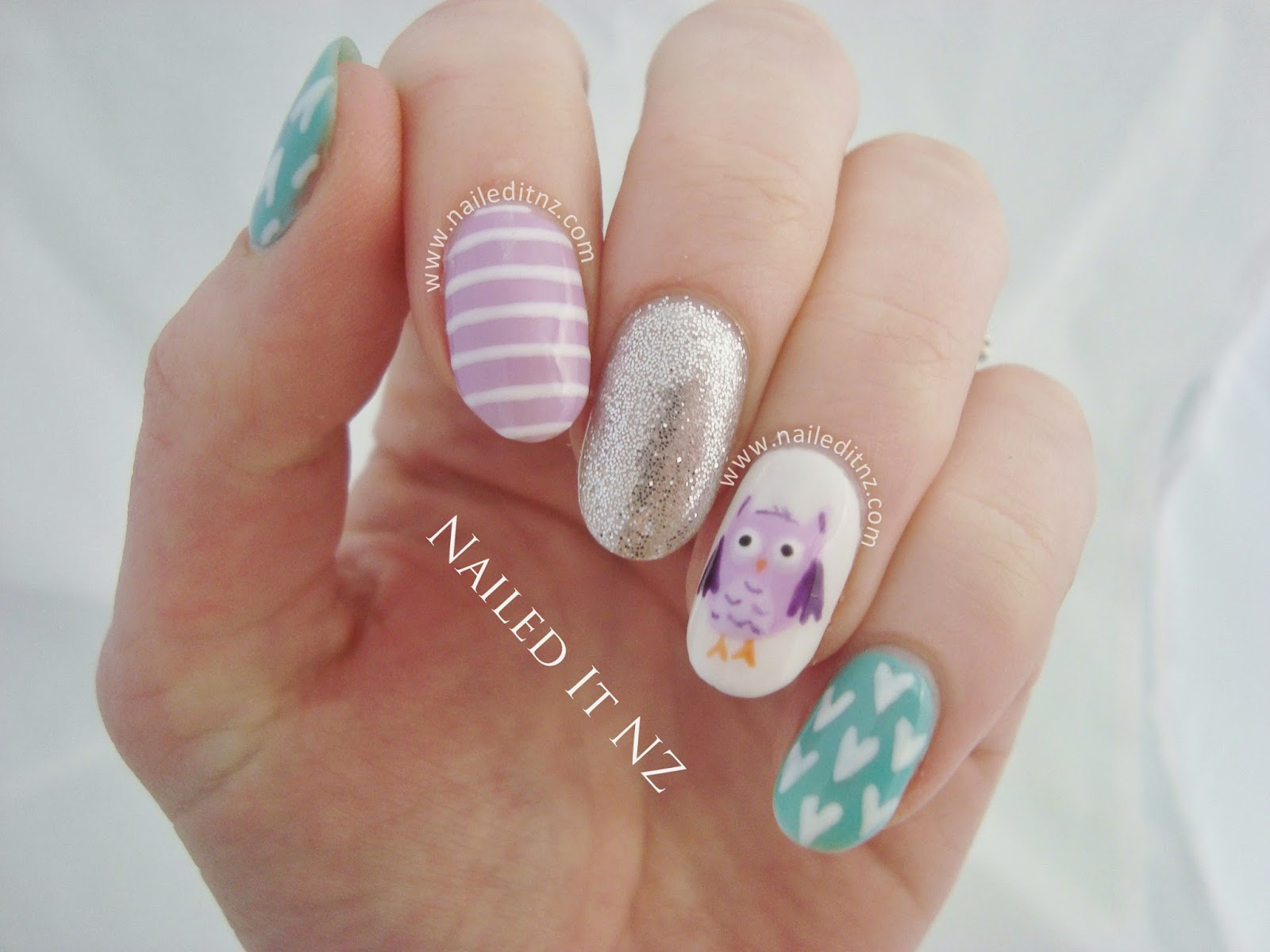 Pastel Owl Nail Art With Gel Polish