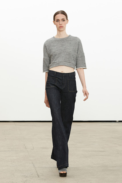 Derek Lam, Resort 2014 - 70's tough chick, square poskets, cropped top, cropped sweatshirt, sweatshirt cut down to size, high-waisted trousers