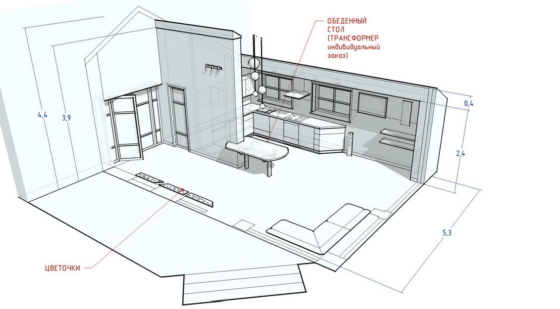 Гостиная кухня интерьер