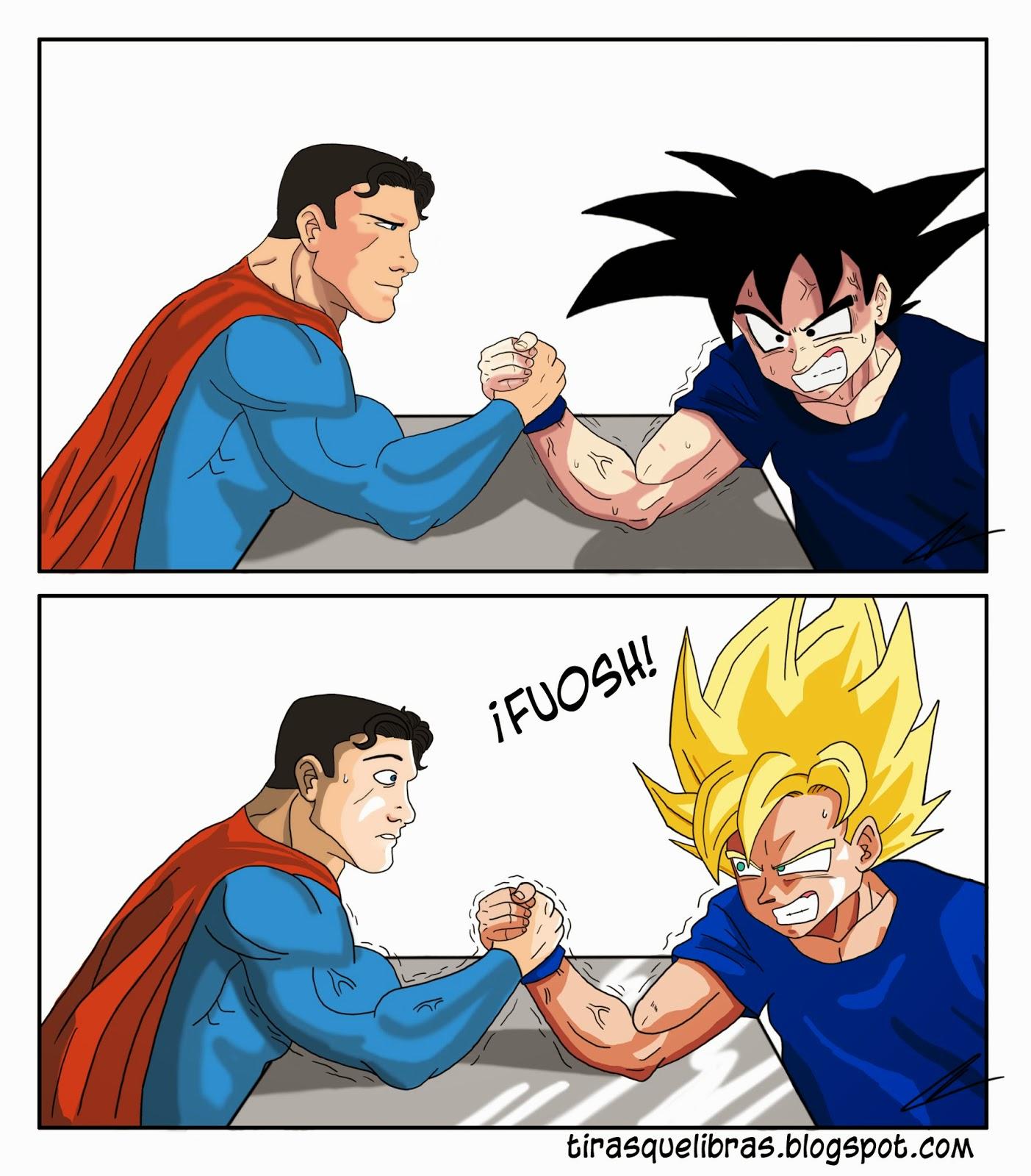 webcomic tiras que libras, Superman y Goku echan un pulso