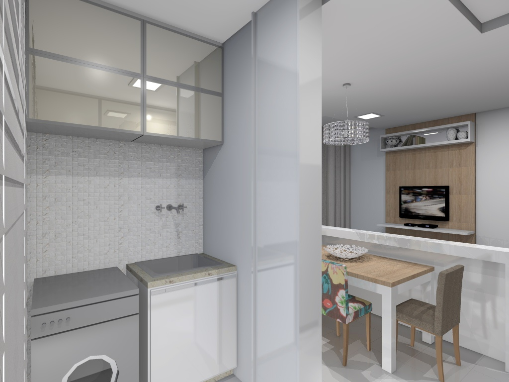 Projeto de interiores de um apartamento pequeno Lavanderia. #6E5E4F 1024 768