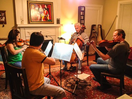 Gyros String Quartet rehearsing Haydn op. 20 series
