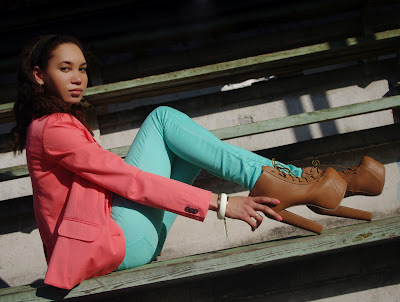 Aqua jeans, a coral blazer and brown Jeffrey Campbell Lita look alikes
