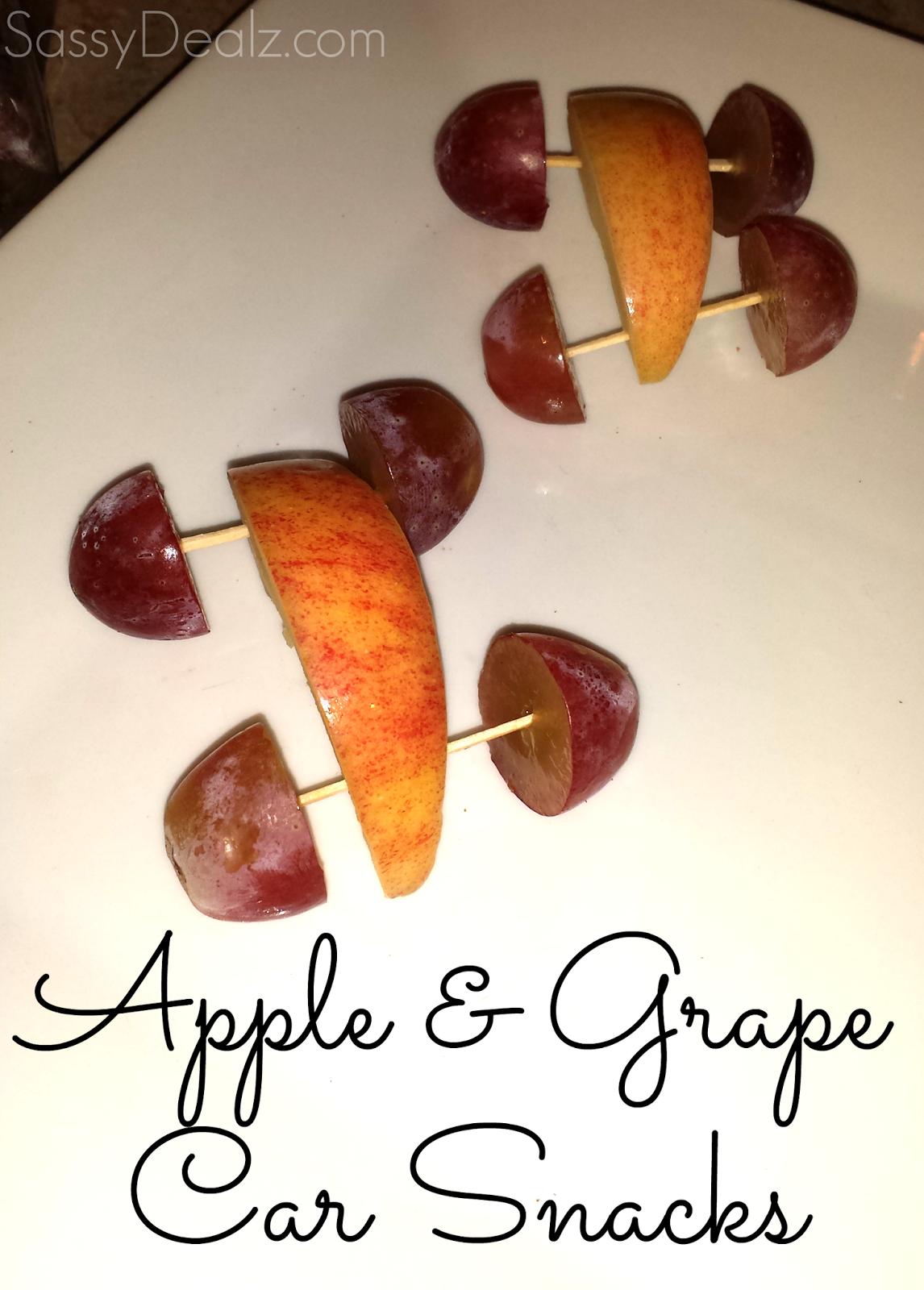 apple grapes car snacks