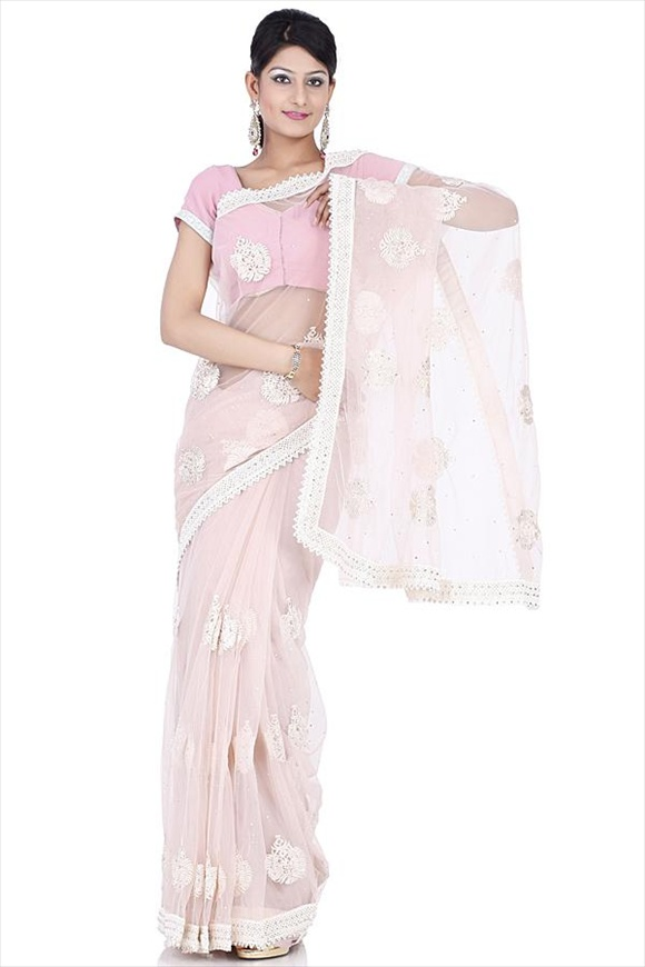 Light Pastel Pink Net Saree