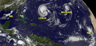Michael, Leslie, Nadine, Golf von Mexiko, Florida, Bahamas, aktuell, Atlantische Hurrikansaison, Hurrikansaison 2012, Satellitenbild Satellitenbilder, Vorhersage Forecast Prognose, September, 2012,