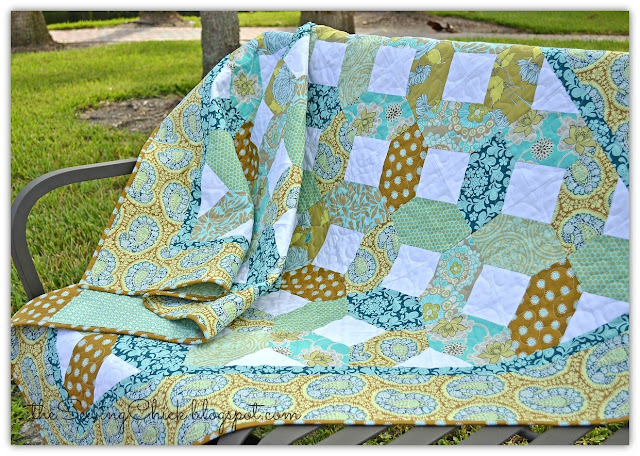 sea glass quilt on park bench