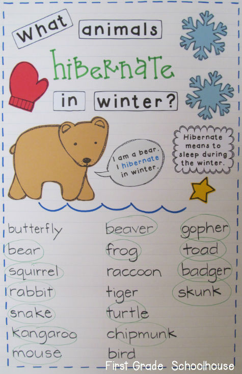 First grade schoolhouse learning about animals that hibernate for Hibernation crafts for preschool