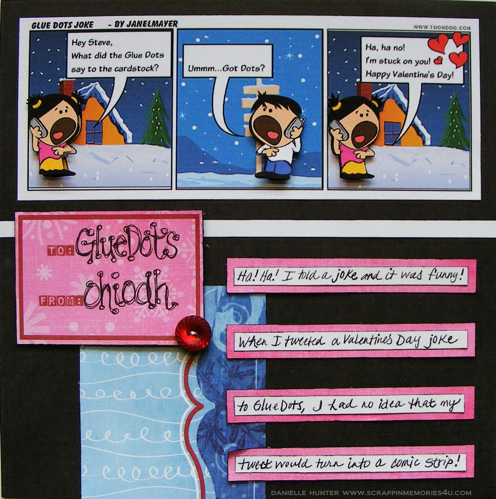 How to scrapbook 8x8 layouts - 8x8 Scrapbook Layout Glue Dots Joke
