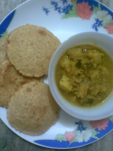daliya poori..guilt free treat and tips to make your poori healthier