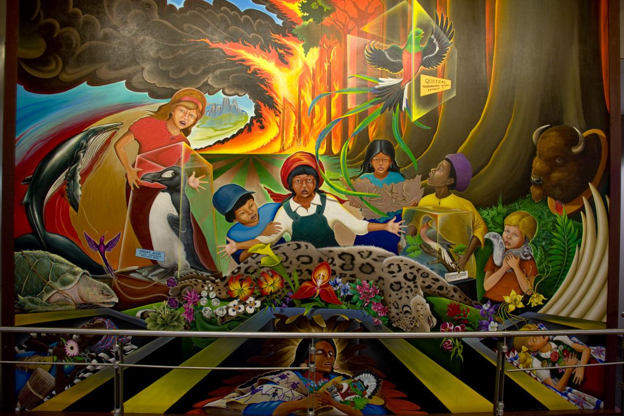 Race lies antichrist police state obama demands an for Mural in denver airport