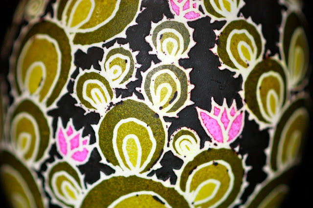 Contemporary Batik Eggshell Prickly Pear Cactus Design in Greens and Pink