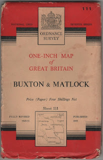 1953 Ordnance Survey, cloth map of Buxton & Matlock, Derbyshire