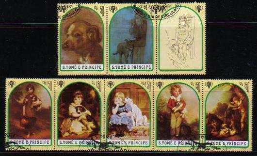 1981年サントメ・プリンシペ民主共和国 国際児童年 犬と子供の切手