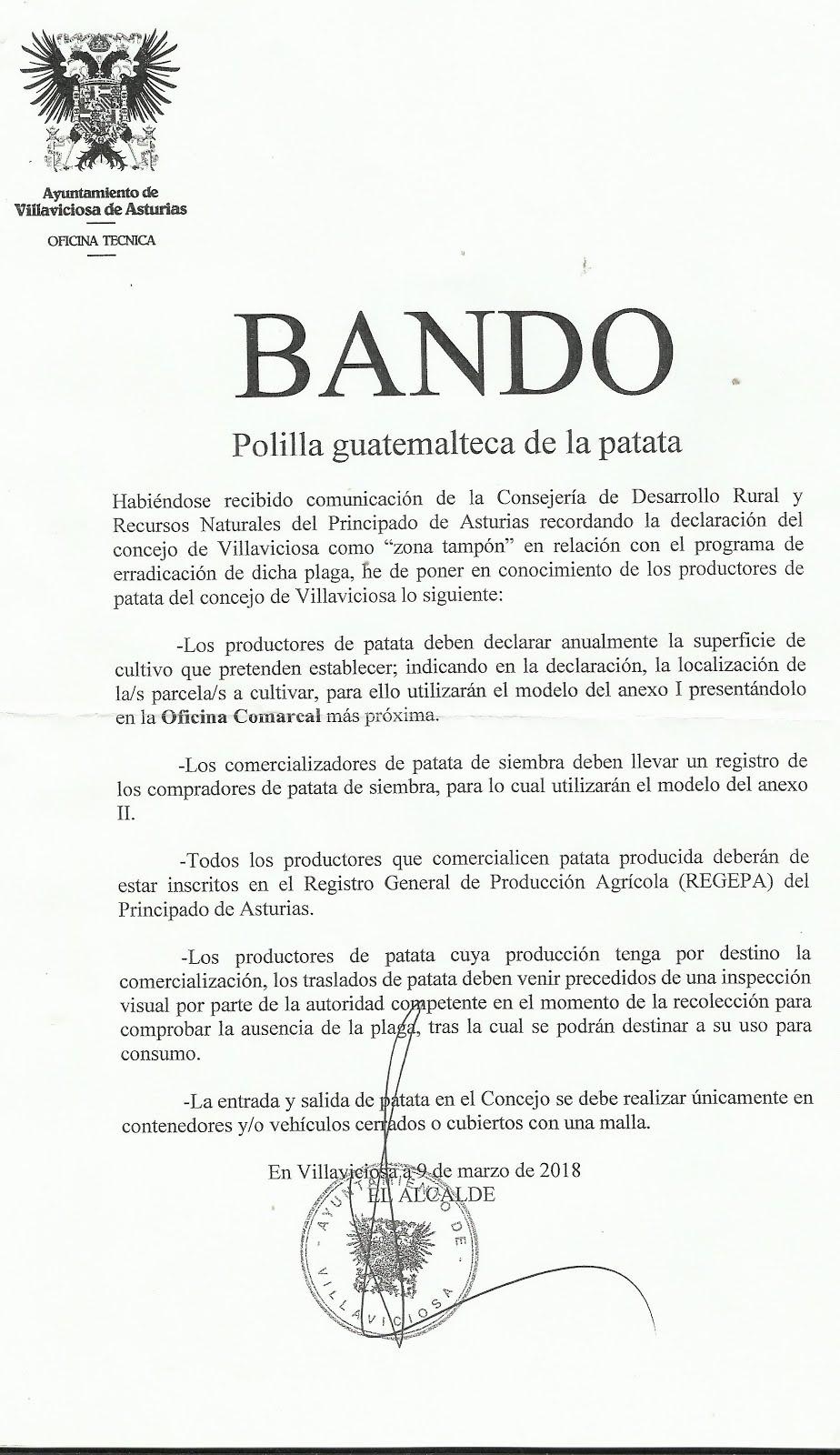 BANDO (Polilla guatemalteca de la patata)