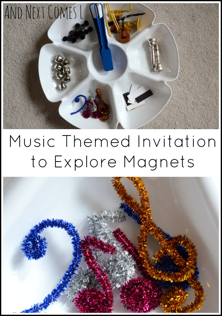 Simple toddler science: music themed invitation to explore magnets from And Next Comes L