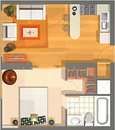SMALL APARTMENT PLANS 40m2