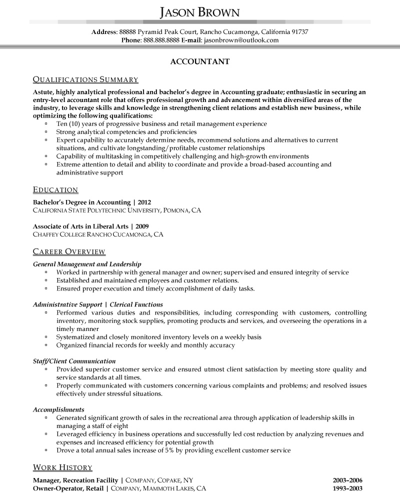 Sample Of Cv For Accountant