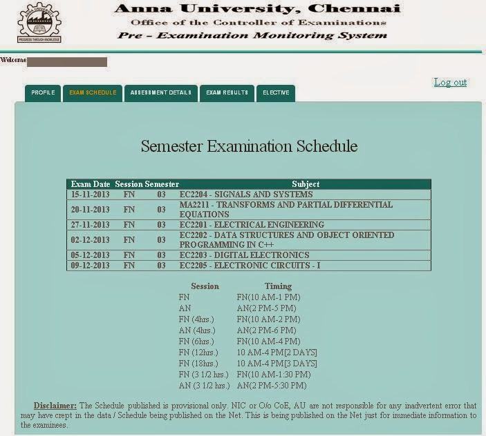 Nov/Dec 2013 Exam Time Table For Each Student - Individual Time Table