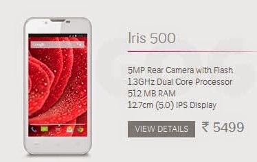 LavaIris 500: 5 inch,1.2 GHz Dual core Android Phone Specs, Price