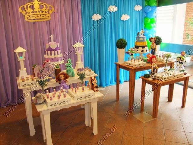 decoracao de festa infantil princesa sofia e toy story
