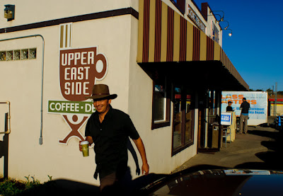 Jeremy Wade Shockley with coffee at Upper East Side Coffee House.