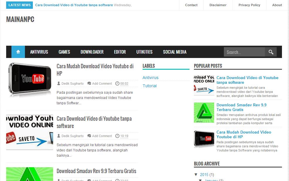 MAINANPC, Blog Download Software dan Game Gratis