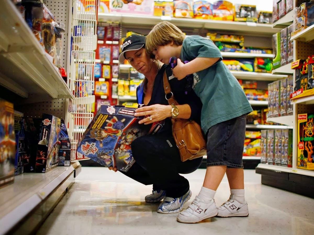 Детские товары расположены на уровне глаз ребенка