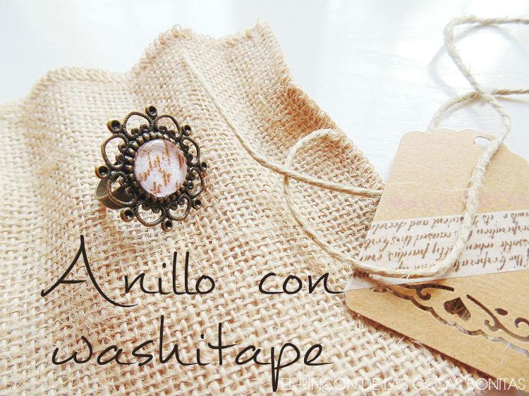 anillo con washitape y packaging de arpillera
