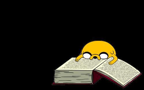 Desenho Jake lendo Hora de Aventura colorido