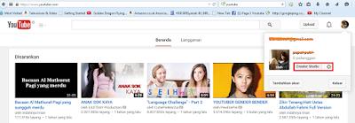 Halaman utama youtube (Creator Studio)