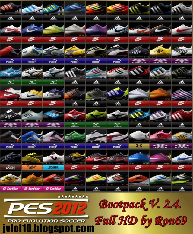 Bootpack v2.4 - 81 Chuteiras Full HD para PES 2012 Download, Baixar Bootpack com 81 Chuteiras em HD para PES 2012