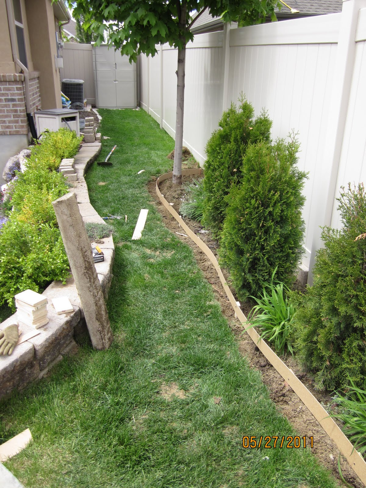 Our Adventures In Home Improvement DIY Curbing For The Backyard