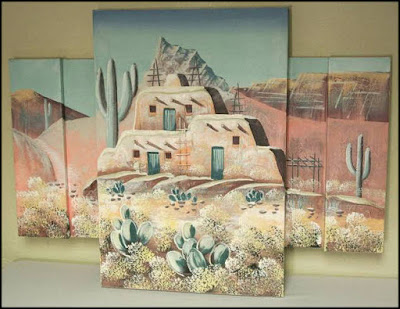 mauve,teal,Santa Fe look,1980s art,pueblo,Indian,cactus,desert
