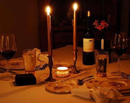 Decoracíon de mesa, San Valentín.