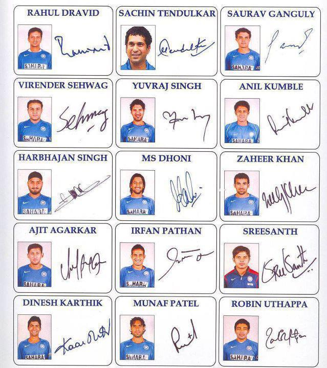 Indian cricket team autographs ~ hotlatestimages