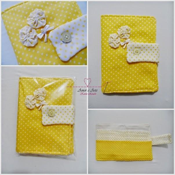 Carteira em Tecido CARINHO, Patchwork - Estampa Amarela e Branco, Poá