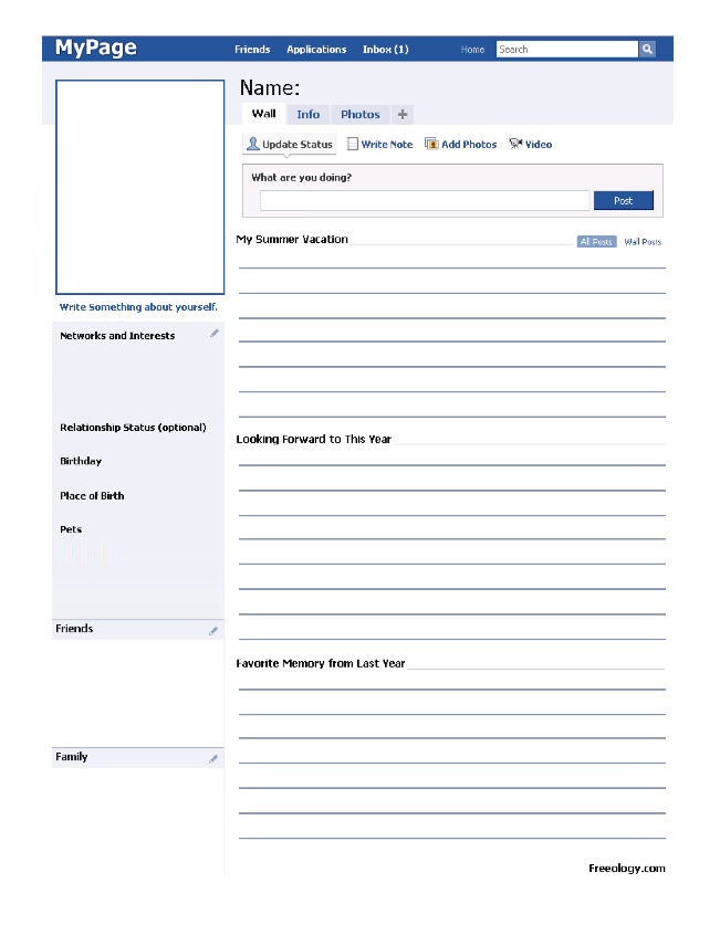 Simply Special Education: Facebook Worksheet