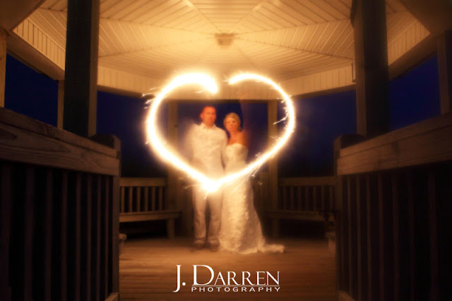 photo of An Emerald Isle North Carolina beach wedding with sparklers
