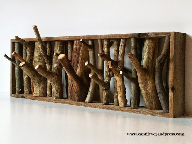 make your own timber twigs coat rack