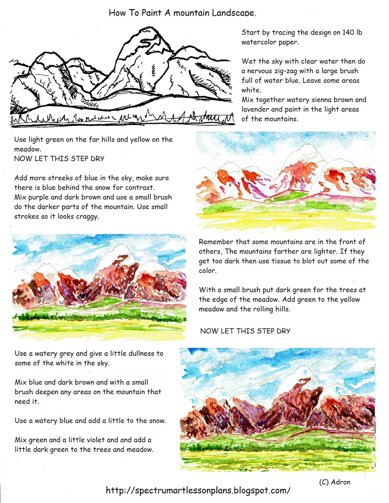 adron 39 s art lesson plans how to paint a mountain landscape worksheet. Black Bedroom Furniture Sets. Home Design Ideas