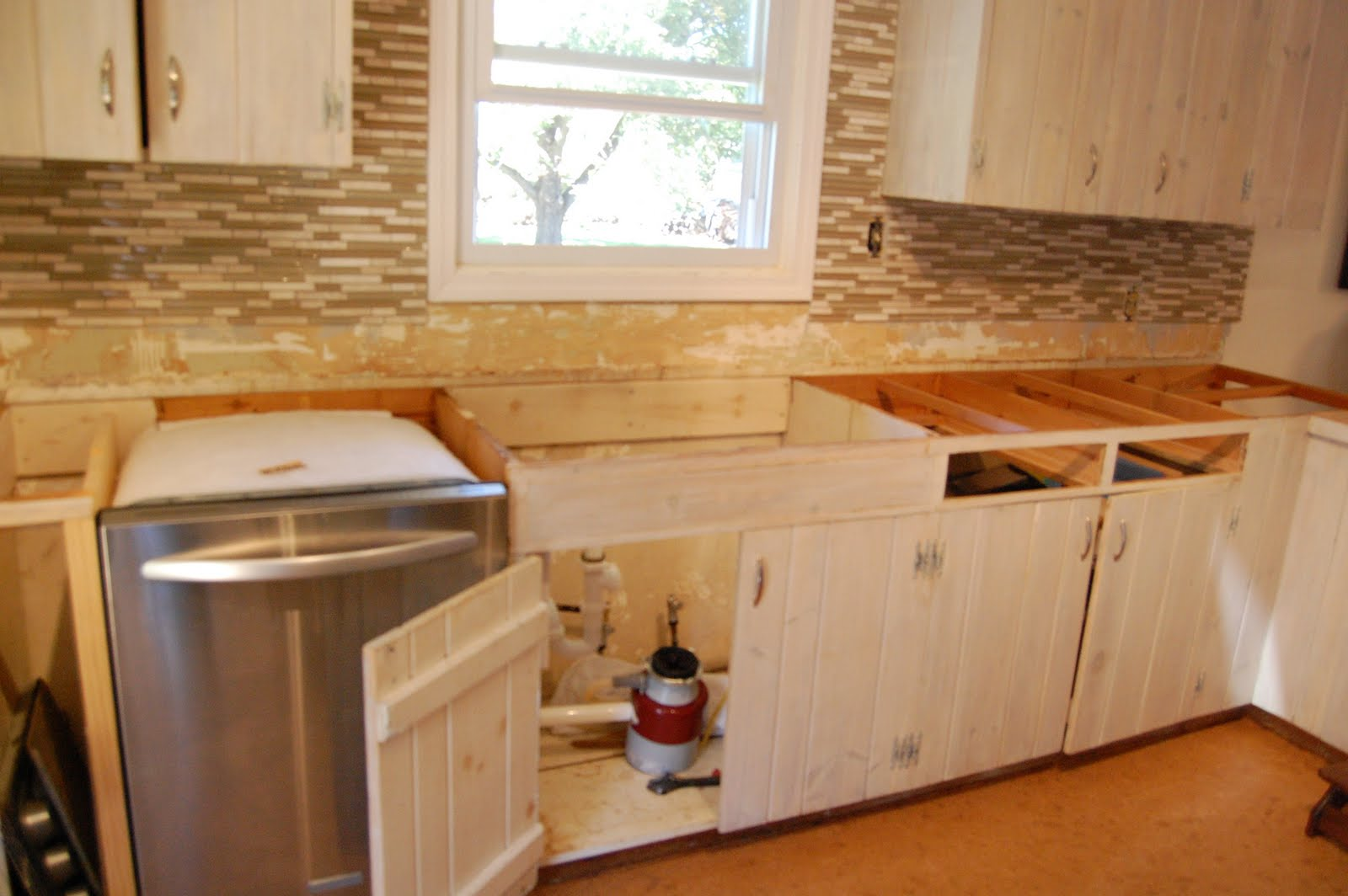 Knotty Pine Kitchen Cabinets Before and After