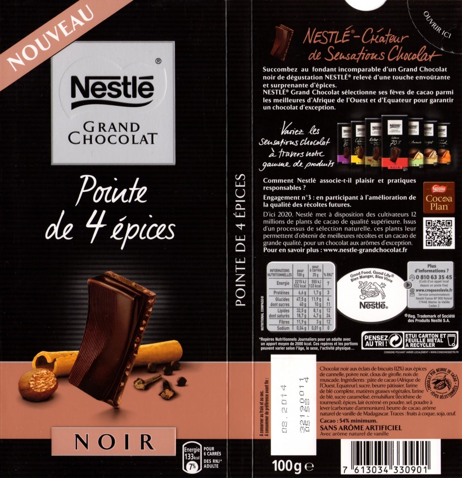 nestl233 grand chocolat noir pointe de 4 epices tablette