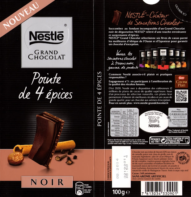 tablette de chocolat noir gourmand nestlé grand chocolat noir pointe de 4 epices