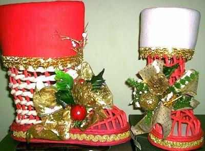 Botas de navidad con adornos
