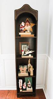 decorated holiday bookshelf